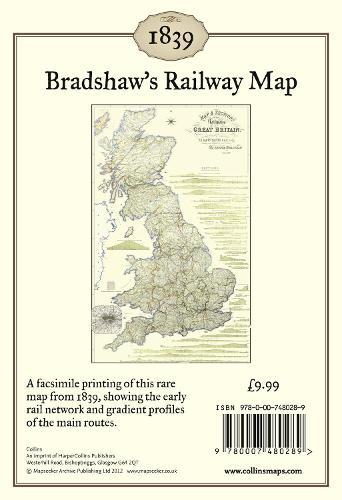 Bradshaw's Railway Map 1839: Wall Map (Sheet map, flat)