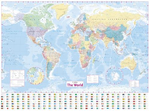 Collins World Wall Laminated Map By Collins Maps Waterstones - Flat map of the world