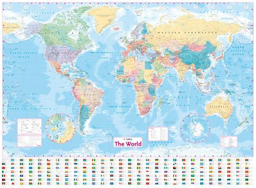 Collins World Wall Laminated Map (Sheet map, flat)