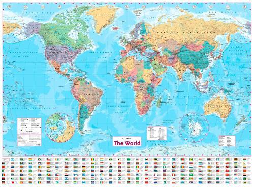 Collins World Wall Paper Map (Sheet map, flat)