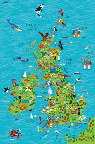 Children's Wall Map of the United Kingdom and Ireland (Sheet map, rolled)