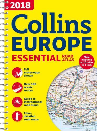 2018 Collins Essential Road Atlas Europe (Spiral bound)