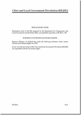 Cities and Local Government Devolution Bill [HL] - House of Lords Bills (Paperback)