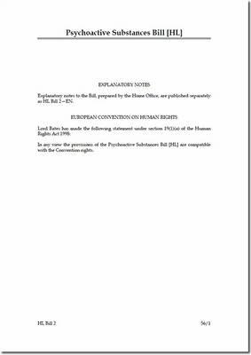 Psychoactive Substances Bill [HL] - House of Lords Bills (Paperback)