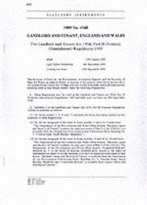 The Landlord and Tenant Act 1954, Part II (Notices) (Amendment) Regulations 1989 - Statutory Instruments 1989 1548 (Paperback)