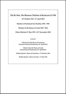 Baroness Thatcher commemorative boxed set (Paperback)