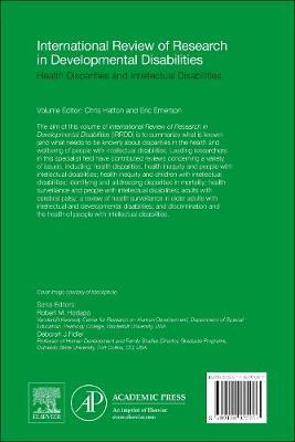 Health Disparities and Intellectual Disabilities: Volume 48 - International Review of Research in Developmental Disabilities (Hardback)