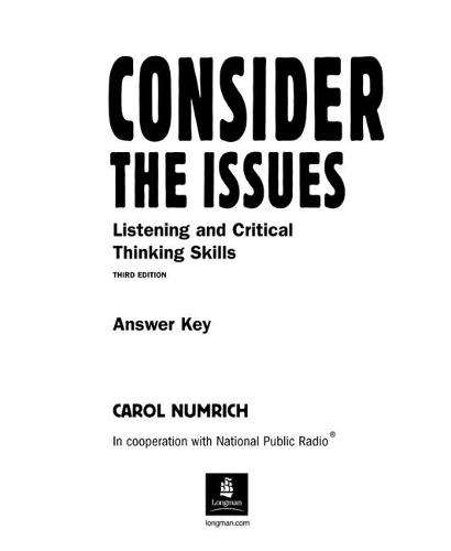 Consider The Issues Answer Key (Paperback)