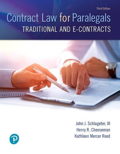 Contract Law for Paralegals: Traditional and e-Contracts (Paperback)