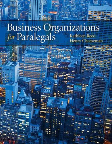 Business Organizations for Paralegals (Paperback)