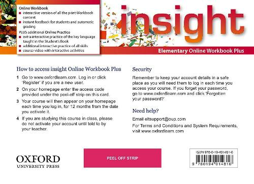 insight: Elementary: Online Workbook Plus - Card with Access Code - insight