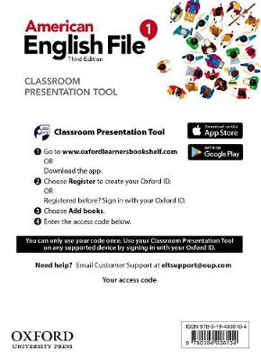 American English File: Level 1: Classroom Presentation Tool Access Card: Deliver heads-up lessons - American English File