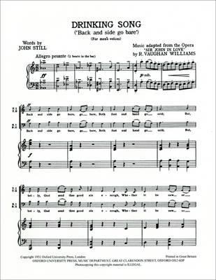 Drinking Song: TTBB vocal score (Sheet music)