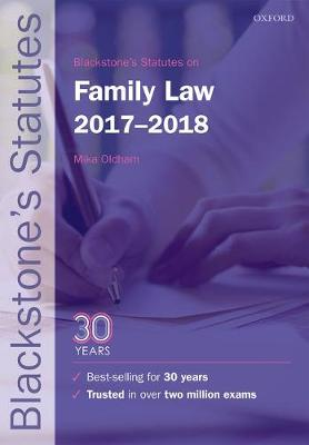 Blackstone's Statutes on Family Law 2017-2018 - Blackstone's Statute Series (Paperback)