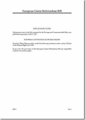 European Union Referendum Bill - House of Commons Bills (Paperback)