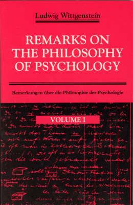 Remarks on the Philosophy of Psychology: v. 1 (Paperback)