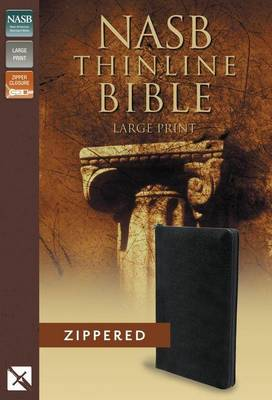 NASB, Thinline Zippered Collection Bible, Large Print, Bonded Leather, Black, Red Letter Edition (Leather / fine binding)