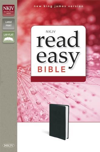 NKJV, ReadEasy Bible, Large Print, Leathersoft, Black (Leather / fine binding)