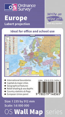 Europe Wall Map - OS Wall Map Sheet 3 (Sheet map, flat)