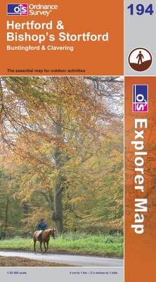 Hertford and Bishop's Stortford - OS Explorer Map Sheet 194 (Sheet map, folded)