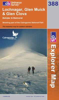 Lochnagar, Glen Muick and Glen Clova - OS Explorer Map Sheet 388 (Sheet map, folded)