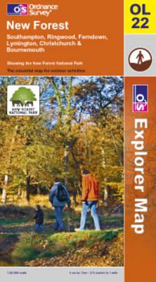 New Forest, Southampton, Ringwood, Ferndown, Lymington, Christchurch and Bournemouth - OS Explorer Map Active Sheet OL22 (Sheet map, folded)