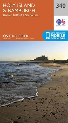 Holy Island and Bamburgh - OS Explorer Active Map 340 (Sheet map, folded)