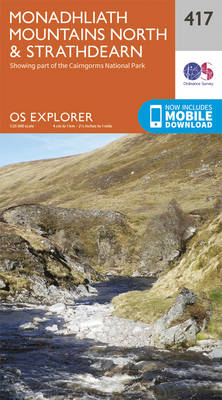 Monadhliath Mountains North and Strathdearn - OS Explorer Active Map 417 (Sheet map, folded)
