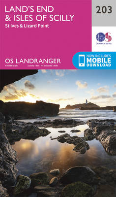 Land's End & Isles of Scilly, St Ives & Lizard Point - OS Landranger Map 203 (Sheet map, folded)