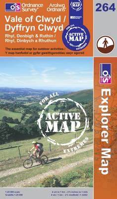 Vale of Clwyd/Dyffryn Clwyd - OS Explorer Map Active Sheet  264 (Sheet map, folded)