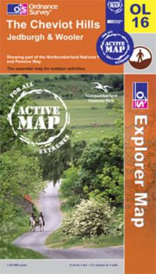 The Cheviot Hills, Jedburgh and Wooler - OS Explorer Map Active Sheet OL16 (Sheet map, folded)