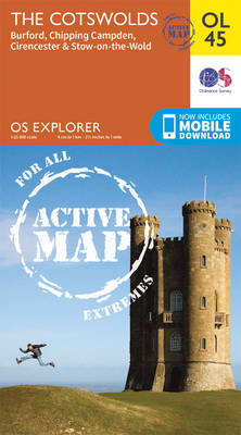 The Cotswolds, Burford, Chipping Campden, Cirencester & Stow-on-the Wold - OS Explorer Map Active (Sheet map, folded)