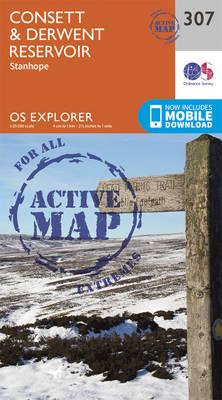 Consett and Derwent Reservoir - OS Explorer Active Map 307 (Sheet map, folded)