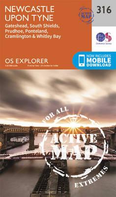 Newcastle Upon Tyne - OS Explorer Active Map 316 (Sheet map, folded)