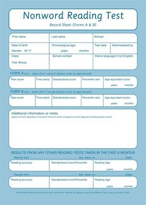 Nonword Reading Test: Record Sheet Pk10 - Nonword Reading Test (Book)