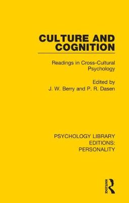 Culture and Cognition: Readings in Cross-Cultural Psychology - Psychology Library Editions: Personality 2 (Hardback)