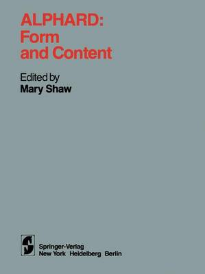 Alphard: Form and Content: Form and Content (Paperback)