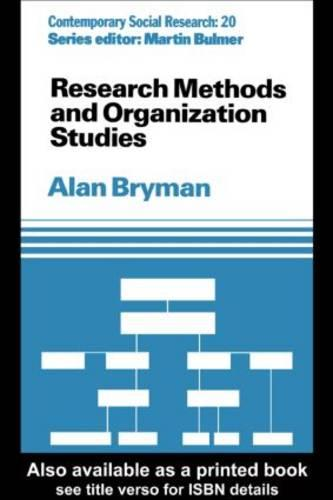 Research Methods and Organization Studies (Paperback)