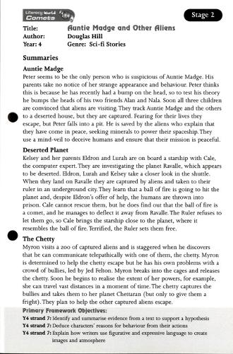 Literacy World Comets Stage 2: Auntie Madge and Other Aliens Guided Reading Card Framework - LITERACY WORLD COMETS