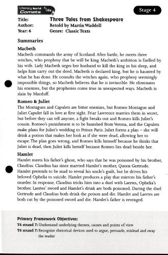 Literacy World Comets Stage 4: Three Tales from Shakespeare Guided Reading Card Framework - LITERACY WORLD COMETS