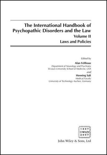 International Handbook on Psychopathic Disorders and the Law: v. 2 (Hardback)