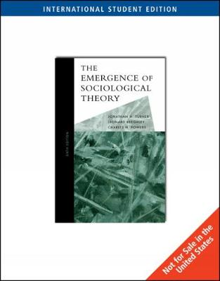 The Emergence of Sociological Theory, International Edition (Paperback)