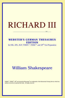 Richard III (Webster's German Thesaurus Edition) (Paperback)