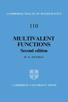 Cambridge Tracts in Mathematics: Multivalent Functions Series Number 110 (Paperback)