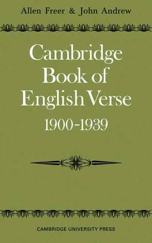 Cambridge Book of English Verse 1900-1939 (Paperback)