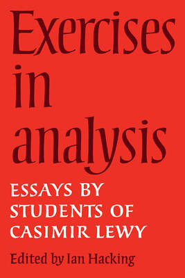 Exercises in Analysis: Essays by Students of Casimir Lewy (Paperback)