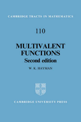 Cambridge Tracts in Mathematics: Multivalent Functions Series Number 110 (Hardback)