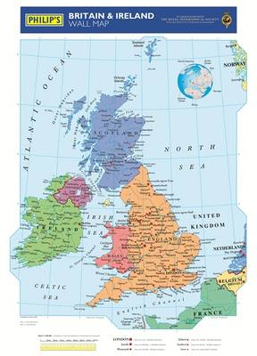 Britain And Ireland Map.Philip S Britain And Ireland Wall Map Waterstones