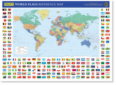 Map Of World Flags.Philip S World Flags Reference Map Waterstones