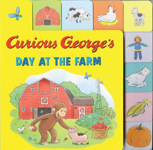 Curious George's Day at the Farm (tabbed lift-the-flap) (Board book)